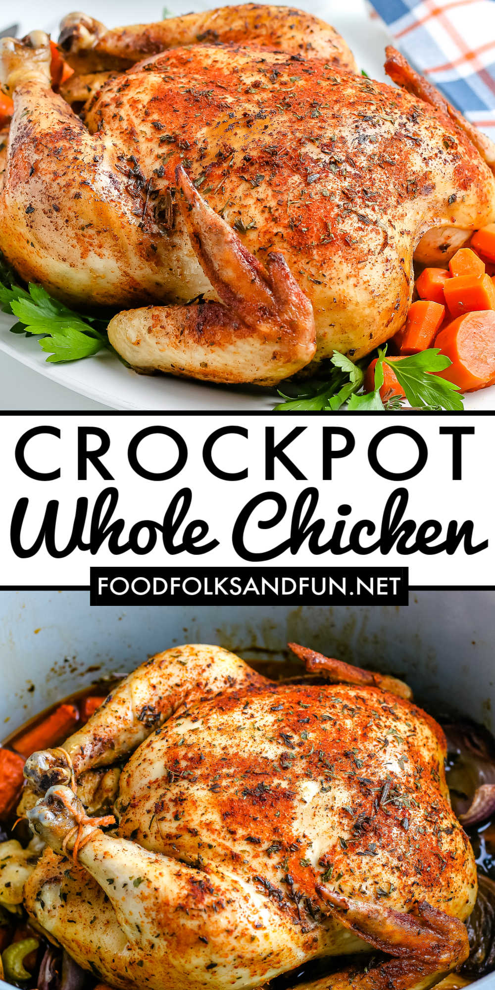 This Crockpot Whole Chicken recipe makes a succulent roast chicken with minimal effort. It's suitable for weeknights, Sunday dinners, and even holidays!  via @foodfolksandfun