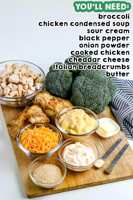 All of the Chicken Divan Casserole ingredients.