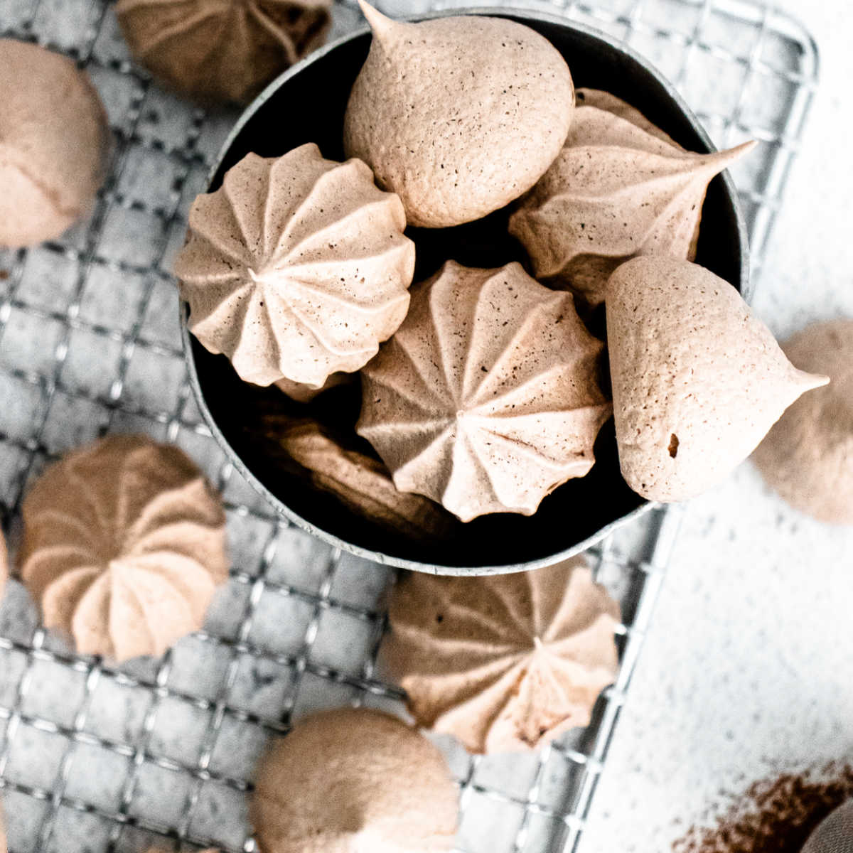 An overhead picture of the finished Chocolate Meringue Cookies recipe.