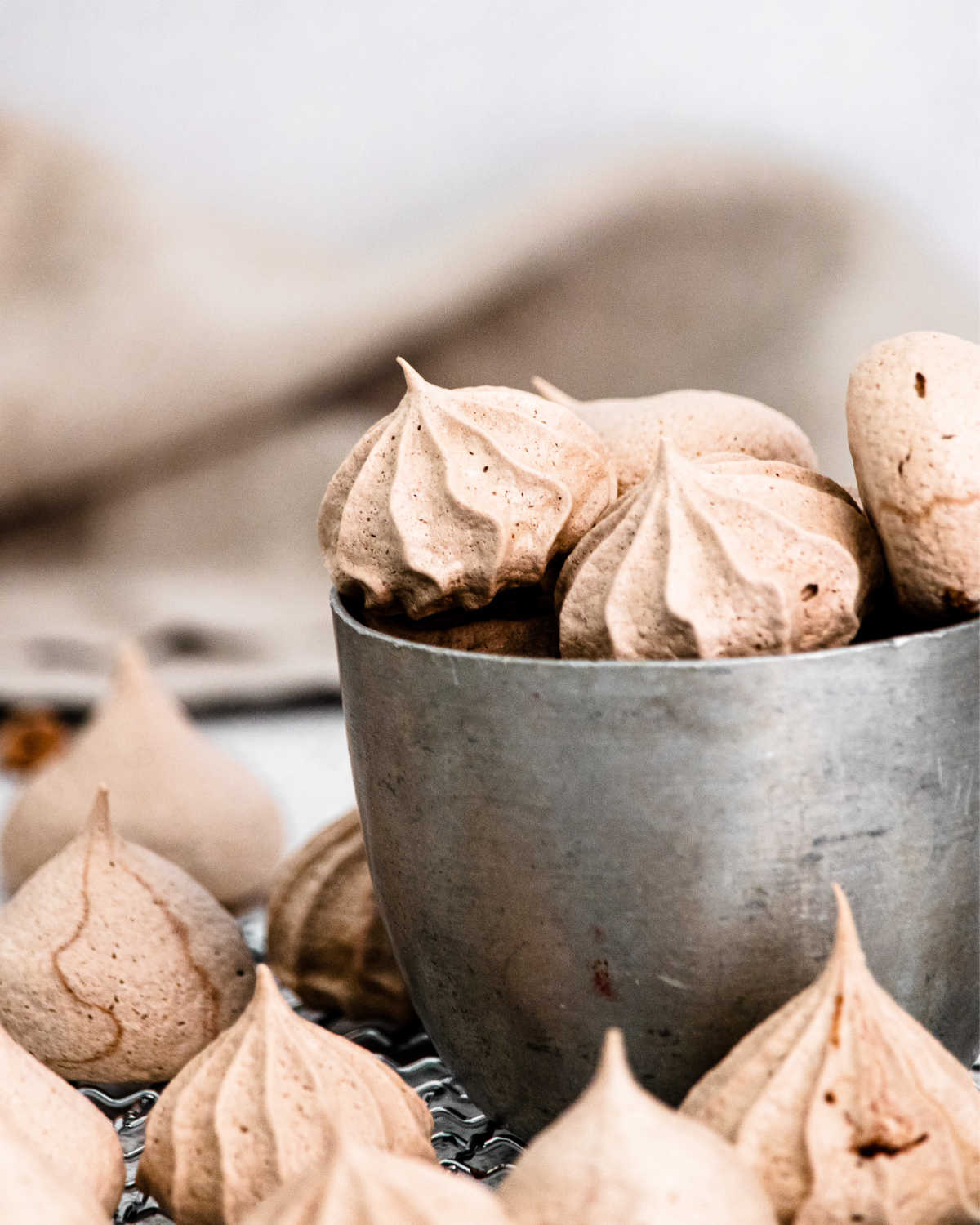The finished Chocolate Meringue Cookies recipe in a cup.