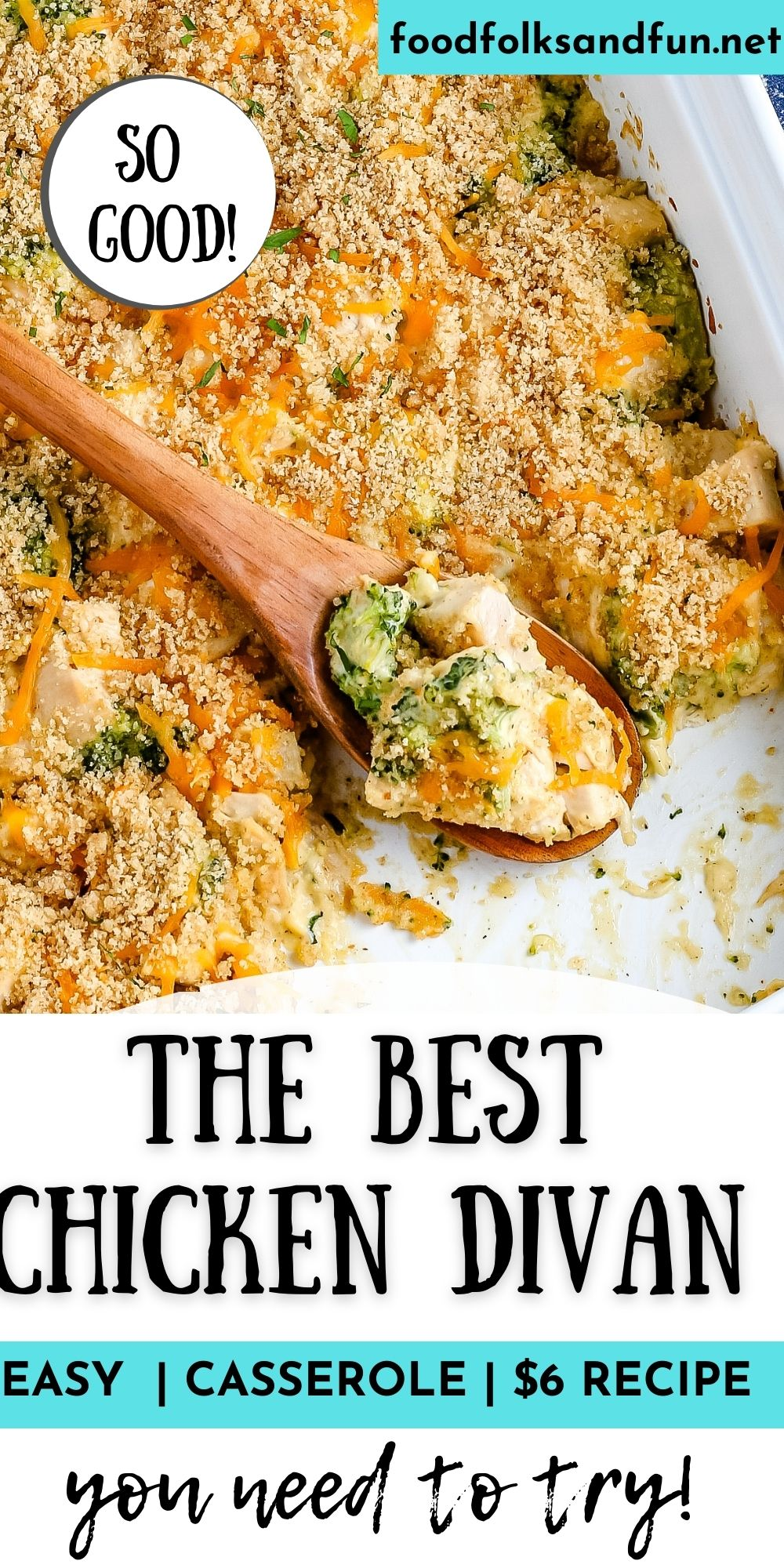 This Chicken Divan Casserole recipe is made with chunks of chicken, broccoli, cheese, a creamy sauce, and breadcrumbs. It's an easy and delicious weeknight meal. via @foodfolksandfun