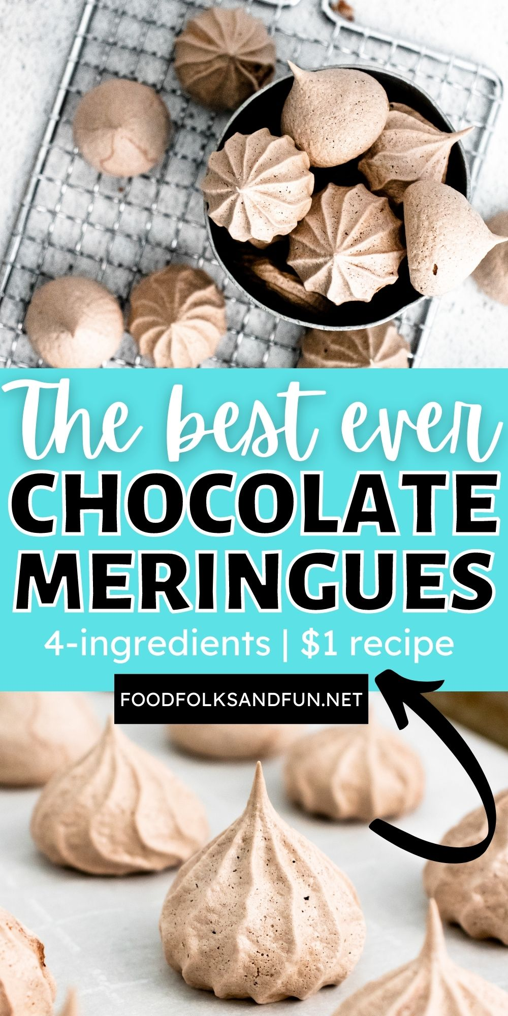 These Chocolate Meringue Cookies are crispy on the outside and chewy on the inside. These airy meringue kisses blissfully melt in your mouth. via @foodfolksandfun