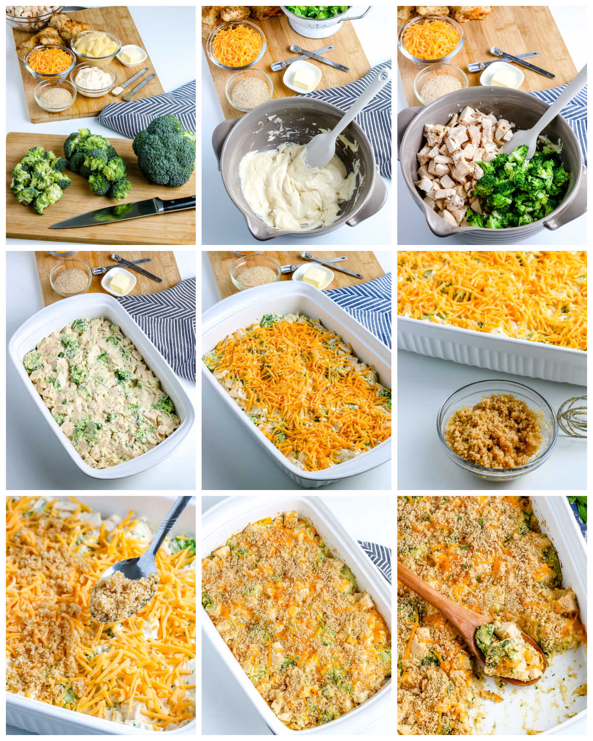 A picture collage of how to make chicken divan.