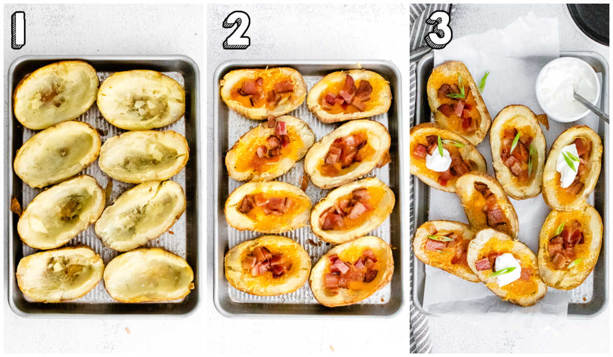 A picture collage of how to make Potato Skins.