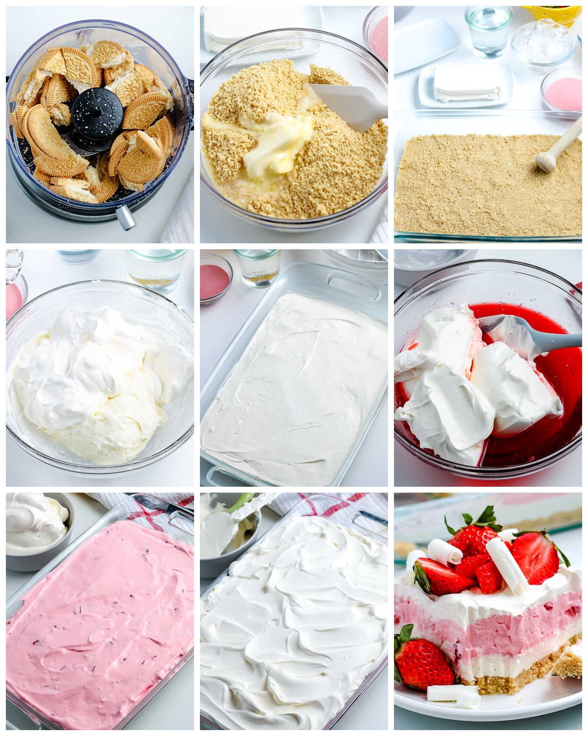 A picture collage of how to make Strawberry Lasagna.