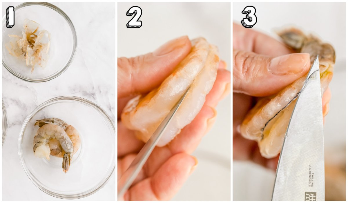 A picture collage of How to Peel and Devein Shrimp.