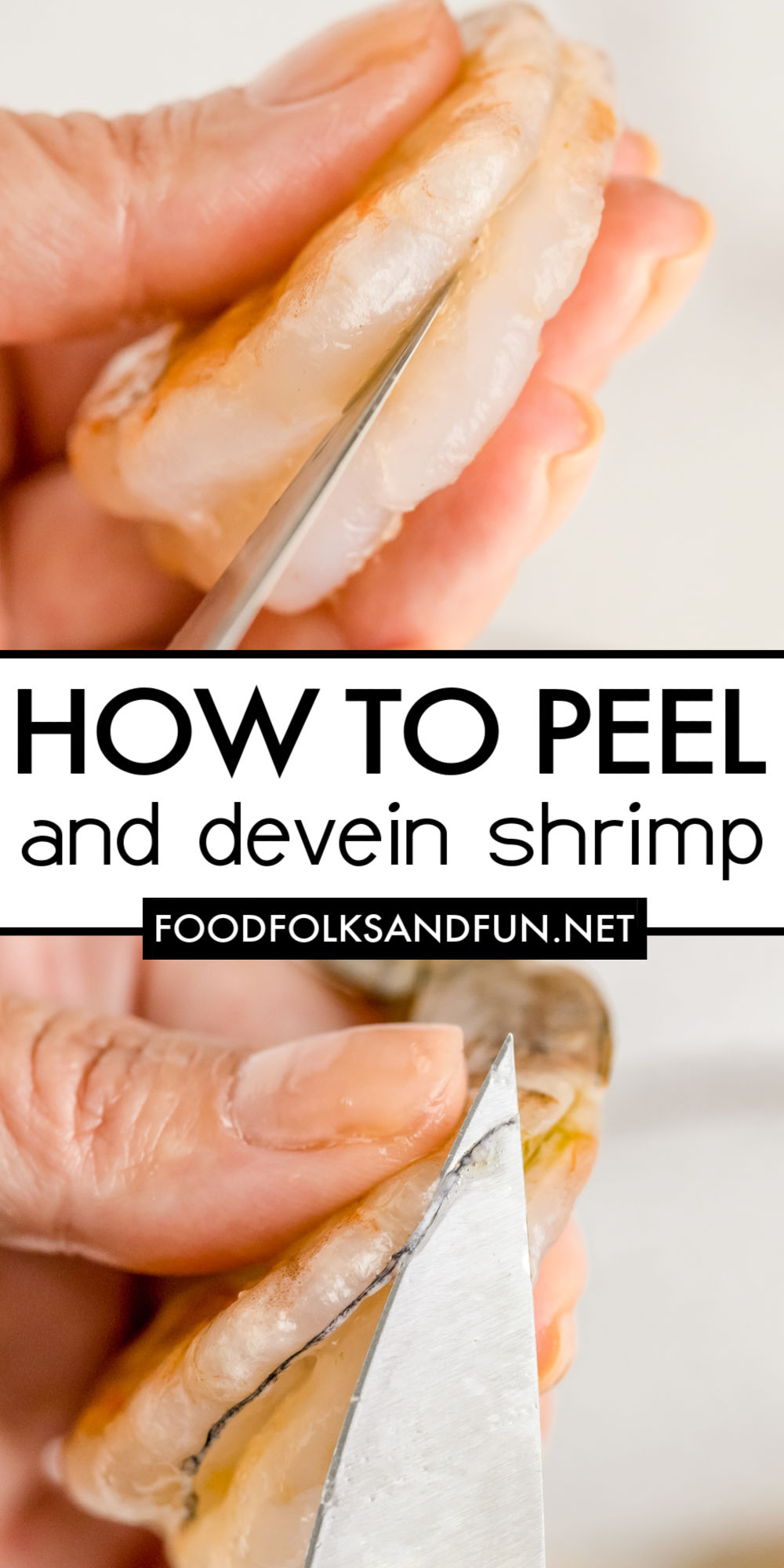 Learn How to Peel and Devein Shrimp in this step-by-step guide. Also included is a video tutorial for even more visuals. via @foodfolksandfun