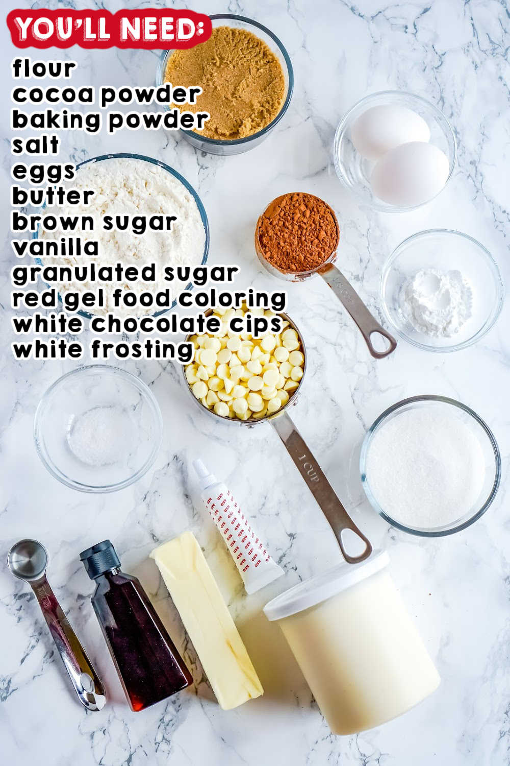 An overhead picture of all of the ingredients needed to make this red velvet cookies recipe.