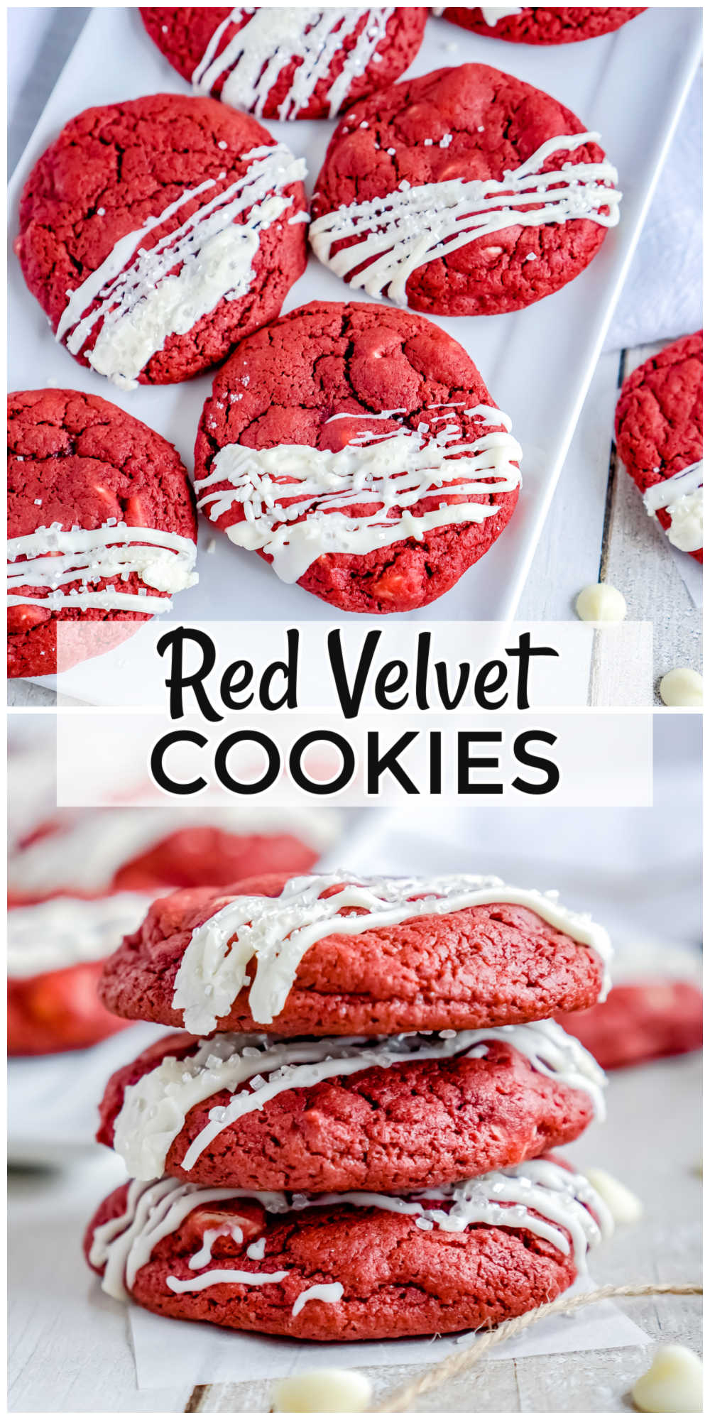 These Red Velvet Cookies with White Chocolate Chips are soft and chewy in the center and crisp around the edges. They're finished with frosting and seasonal sprinkles. via @foodfolksandfun