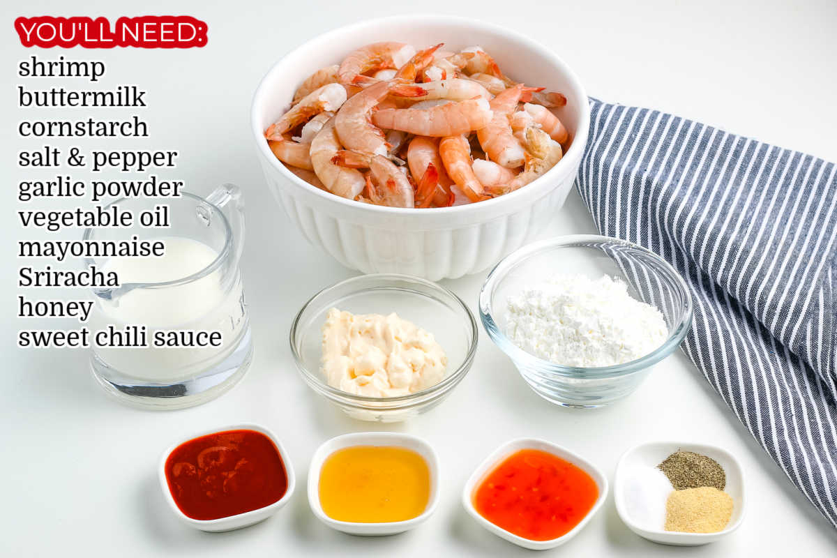 All of the ingredients needed to make this Bang Bang Shrimp Recipe.