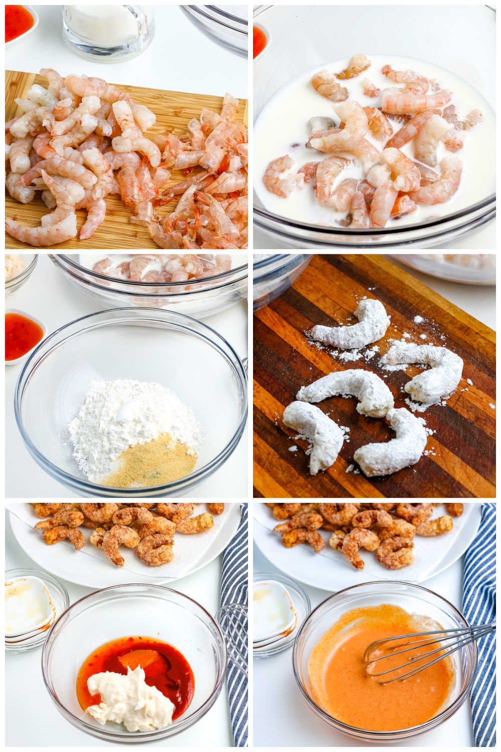 A picture collage of how to make this Bang Bang Shrimp Recipe