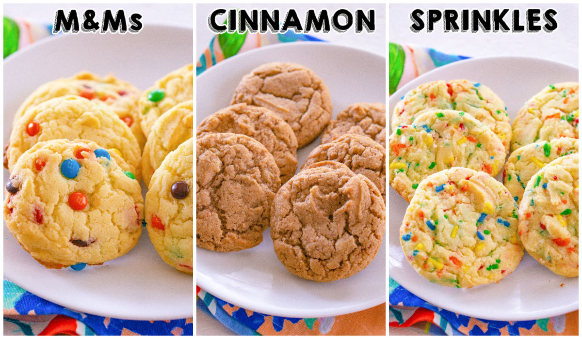 Cake Mix Cookies made 3 ways: with M&Ms, cinnamon sugar, and sprinkles.