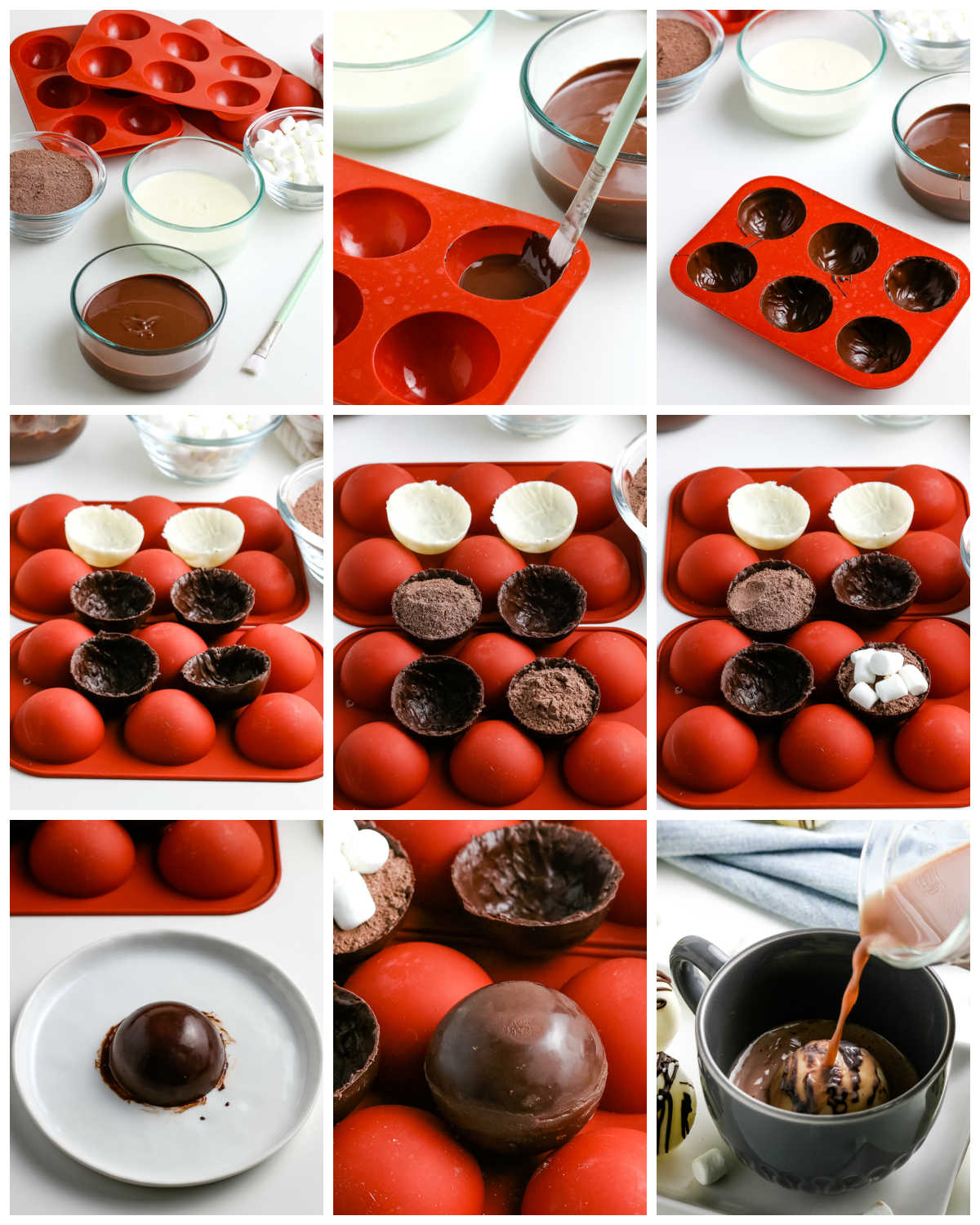 A picture collage of How to Make Hot Chocolate Bombs with step-by-step directions.