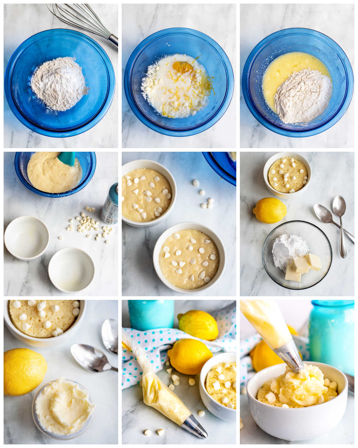 A picture collage of how to make this Lemon Mug Cake recipe.
