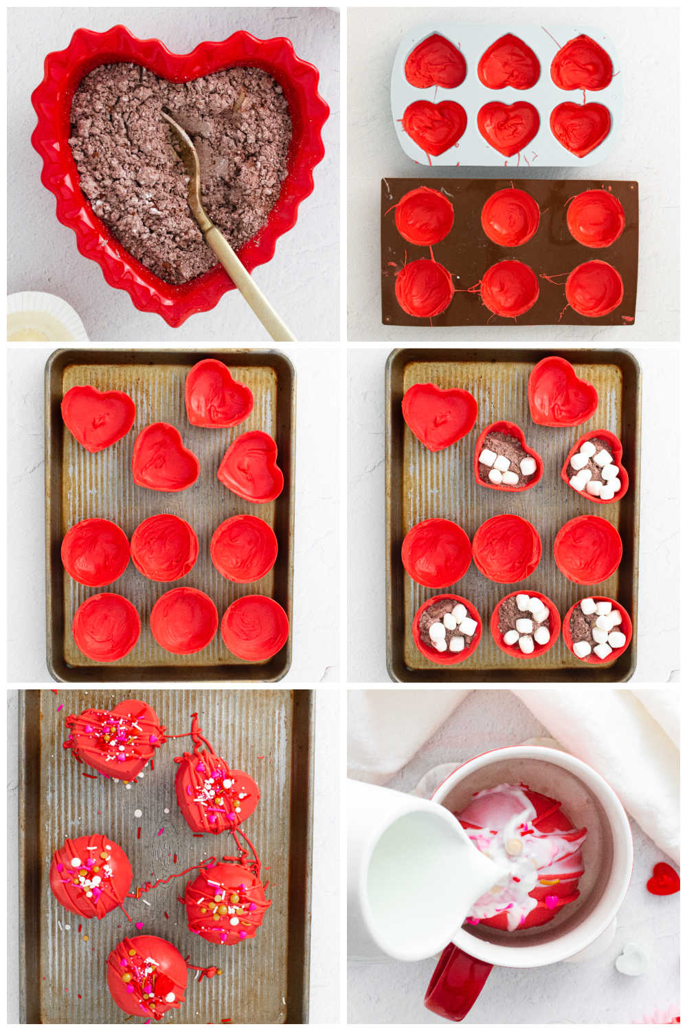 A picture collage of how to make Red Velvet Hot Chocolate Bombs.