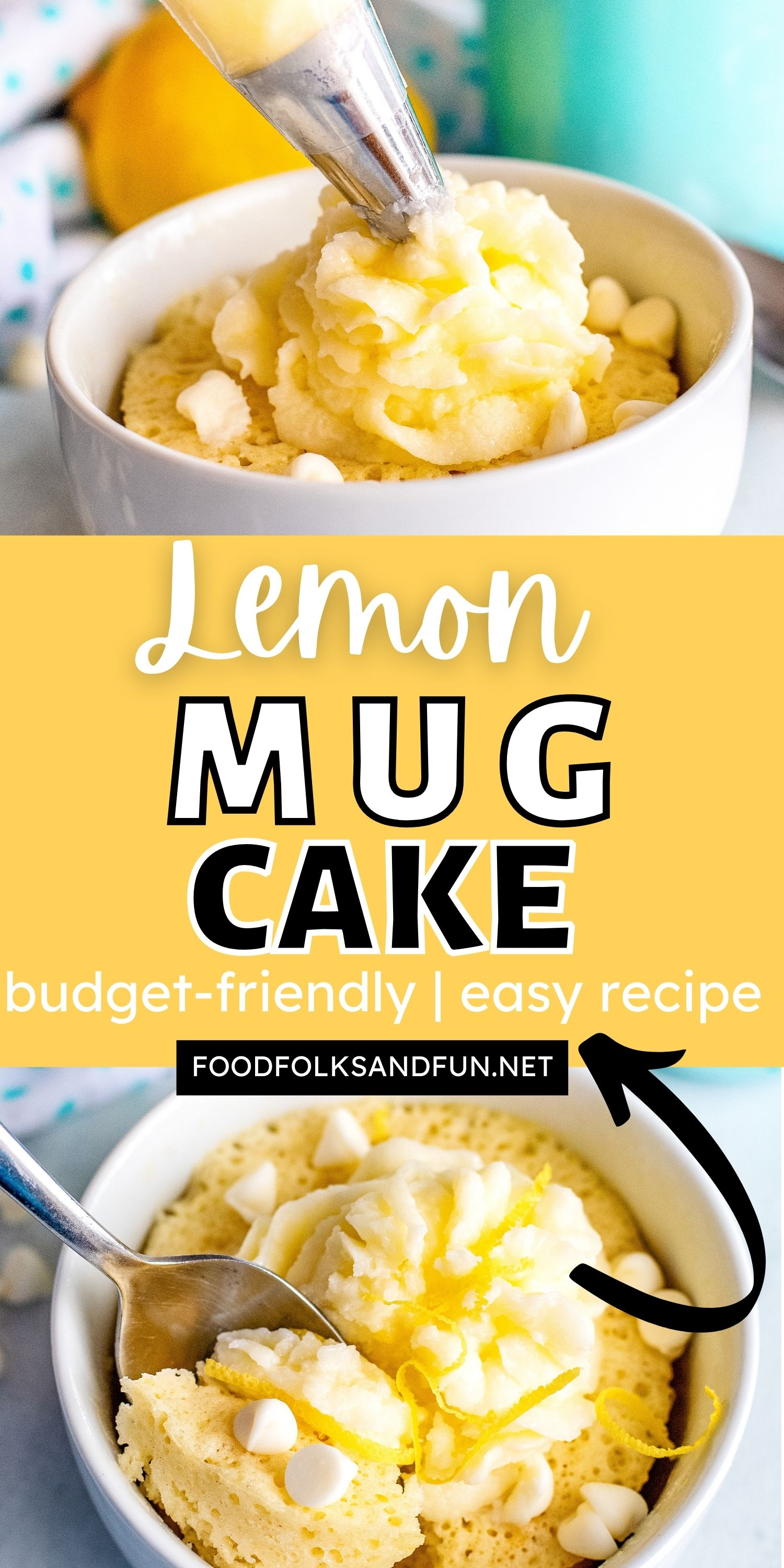This Lemon Mug Cake recipe is zesty, delicious, and made in less than 10 minutes! Mug Cakes are one of the easiest dessert recipes you'll ever make. via @foodfolksandfun