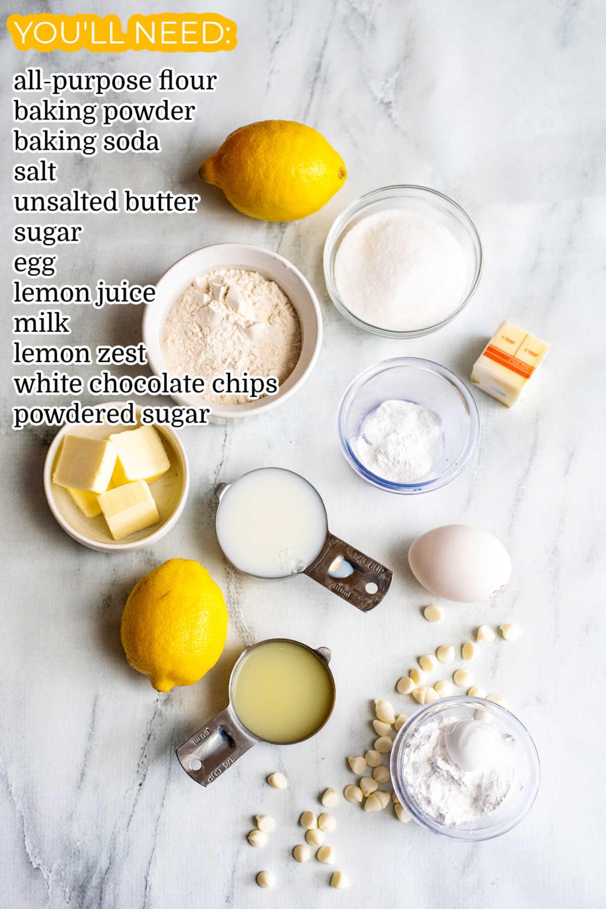 An overhead picture of how to make this Lemon Mug Cake.