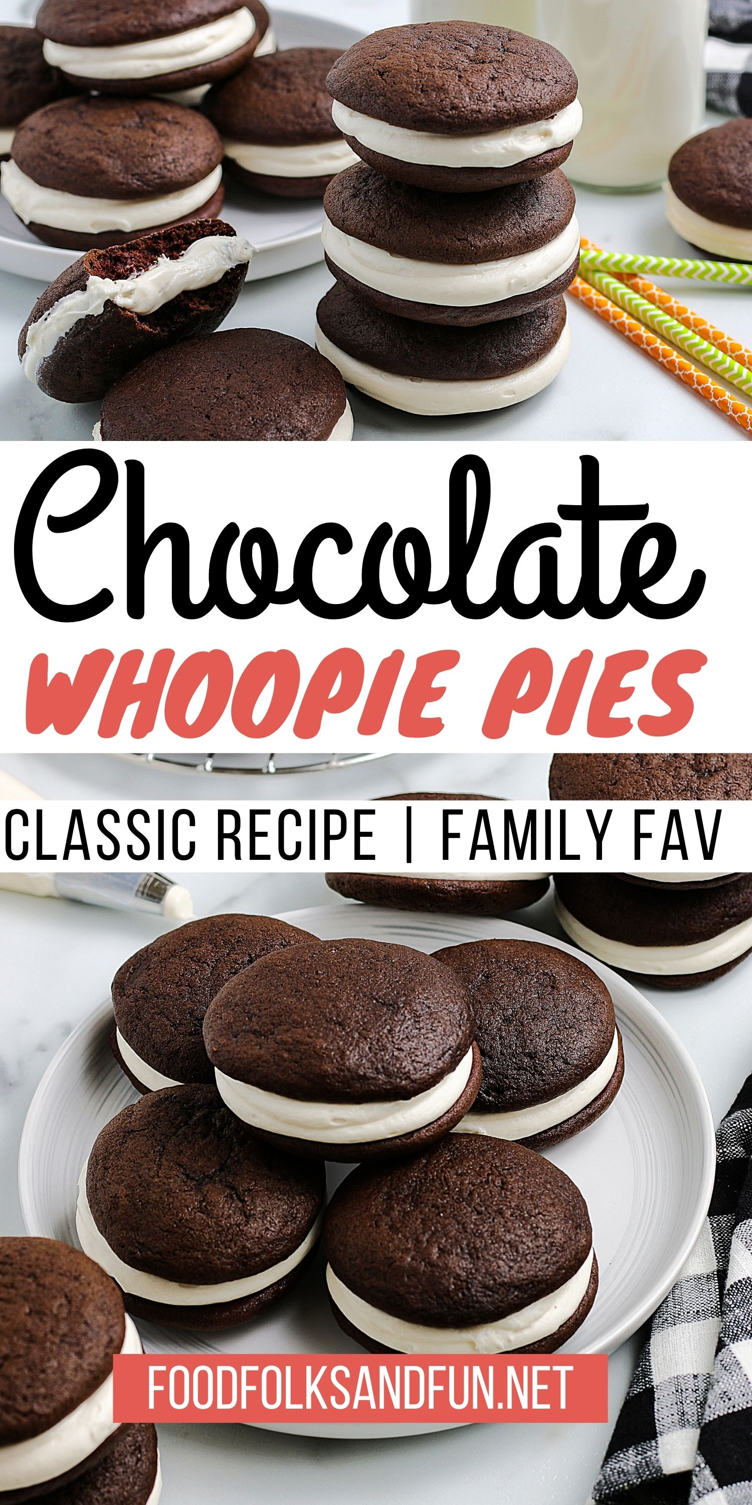 Classic Chocolate Whoopie Pies are little soft chocolate cakes sandwiched together with creamy marshmallow fluff whoopie pie filling.They are utterly delicious.  via @foodfolksandfun