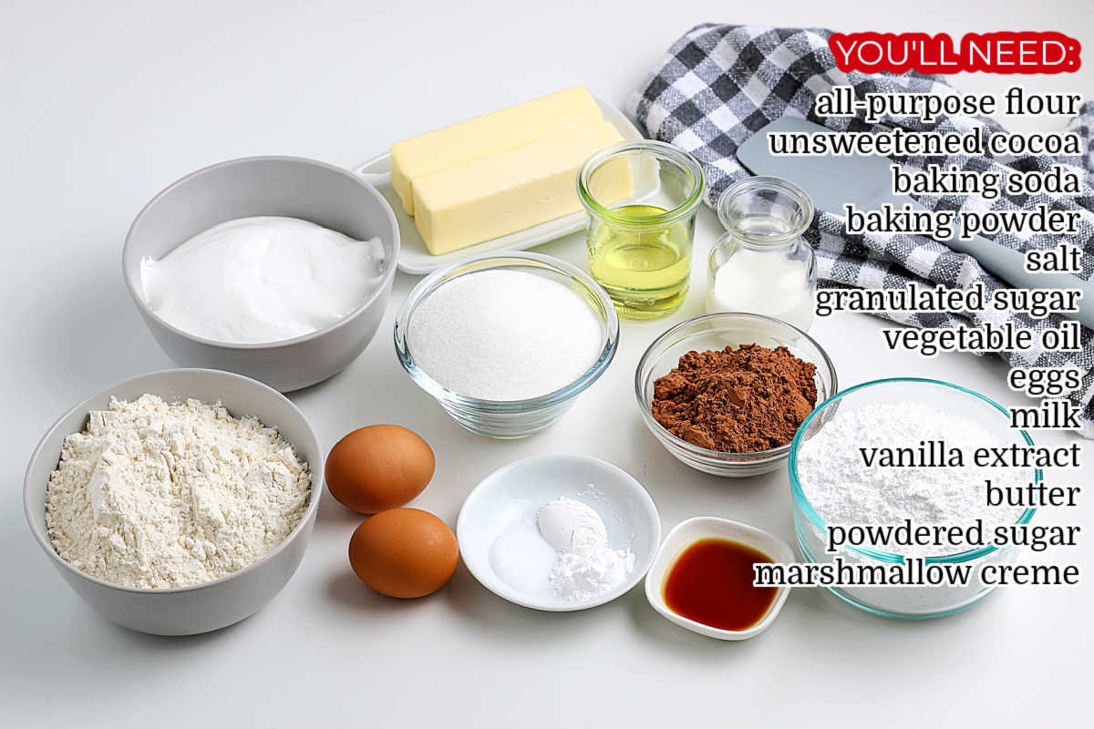 All of the ingredients needed to make Chocolate Whoopie Pies.