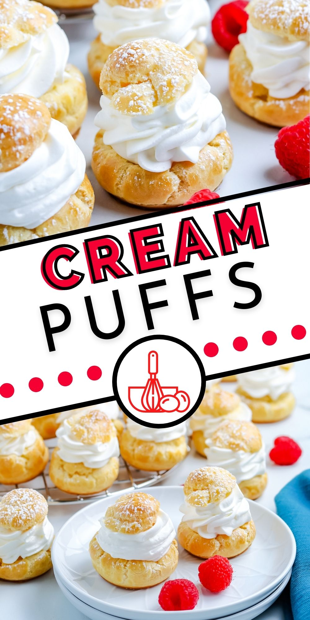 This Cream Puffs Recipe is made with buttery Choux pastry and filled with sweet cream. It's a bakery-quality dessert that folks are always impressed with.  via @foodfolksandfun