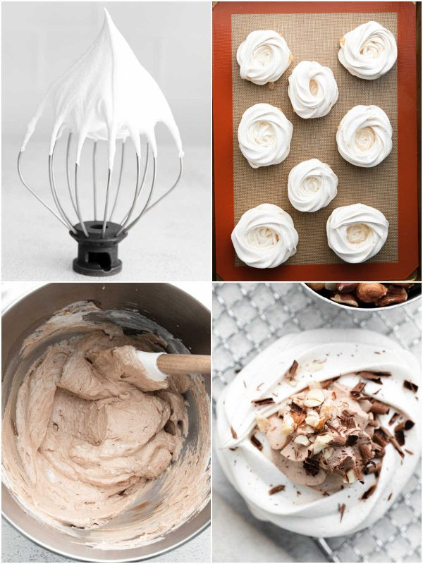 A picture collage of how to make Mini Pavlova.