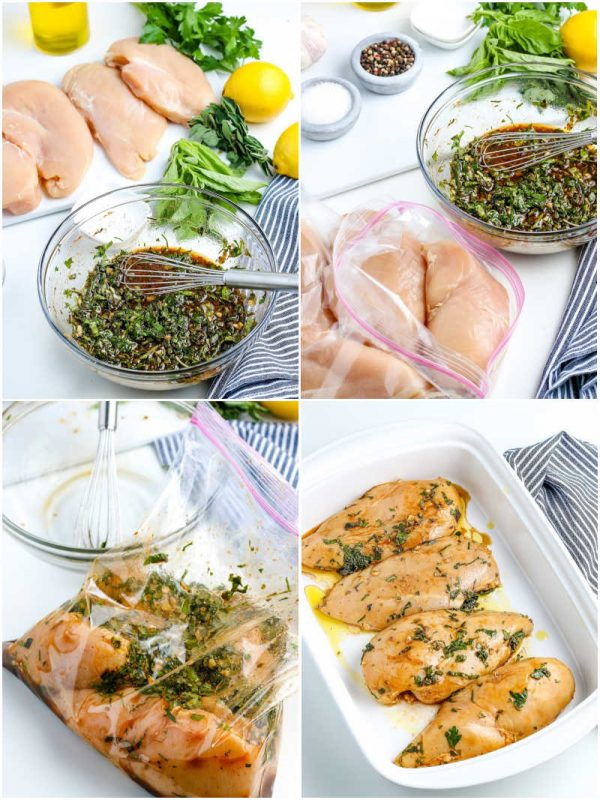 A picture collage of How to Make Oven Baked Chicken Breasts.