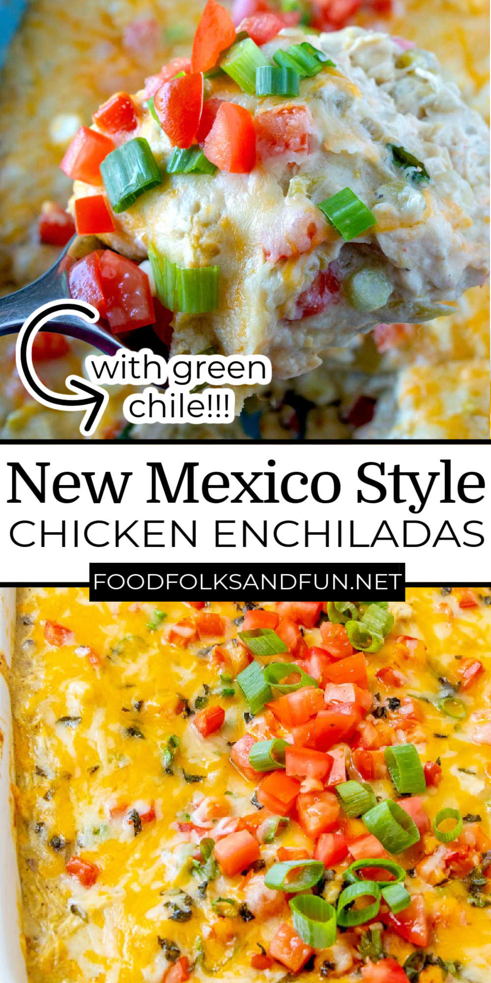This easy New Mexico-style green chile chicken enchiladas recipe stacks the tortillas like a casserole instead of rolling them. Stacking makes them so much easier to make! via @foodfolksandfun