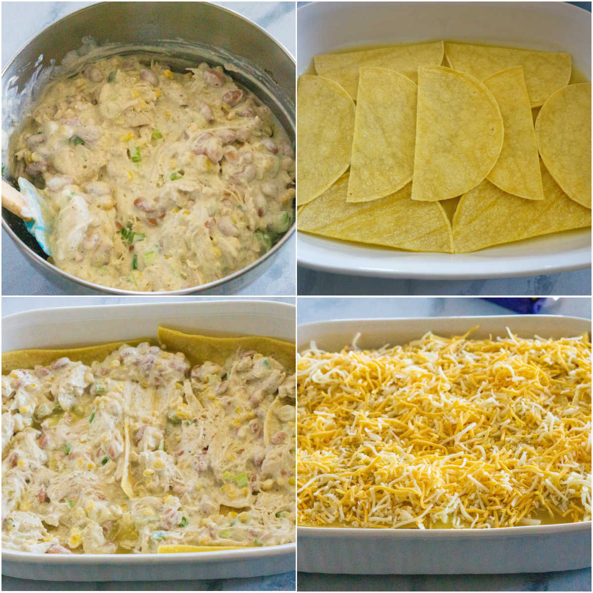 A picture collage of How to Make New Mexico Style Chicken Enchiladas