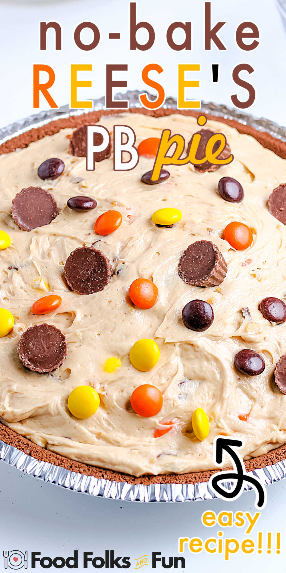 This Frozen Reese's Peanut Butter Pie is so easy to make, soft, creamy, and loaded with Reese's Pieces and Reese's Peanut Butter Cups. via @foodfolksandfun