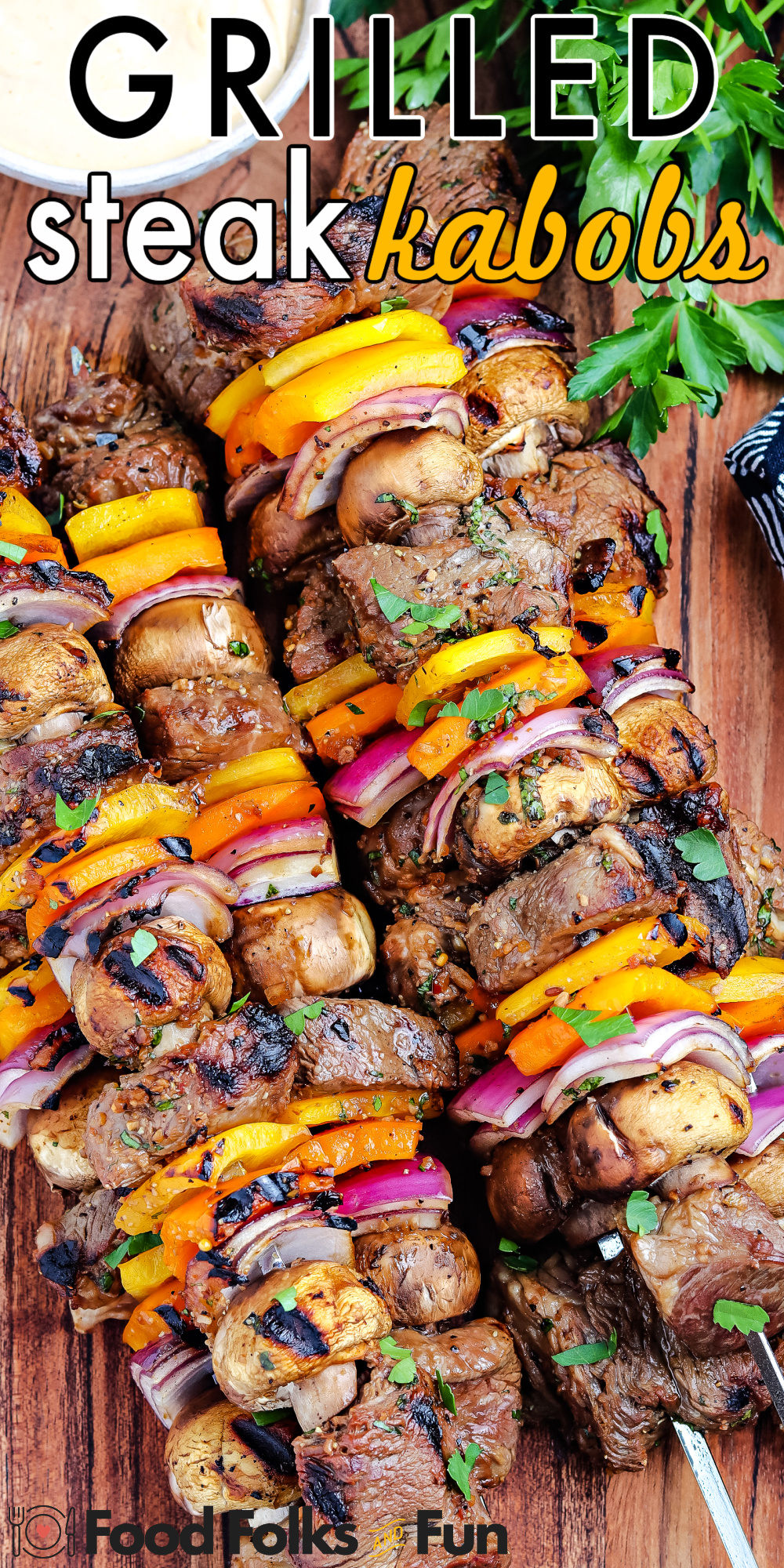 These Grilled Steak Kabobs are flavorful and easy to customize. The beef kabob marinade helps make them juicy and delectable. via @foodfolksandfun