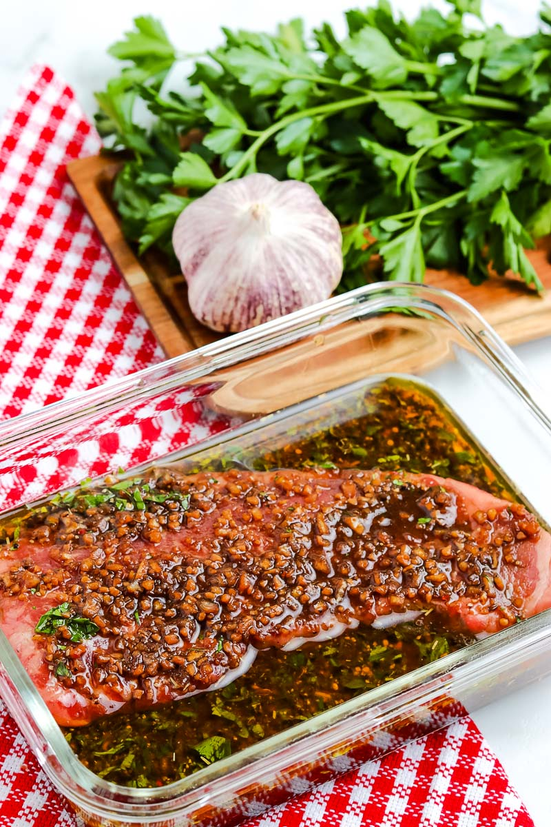 A steak covered in a Steak Marinade for Grilling.