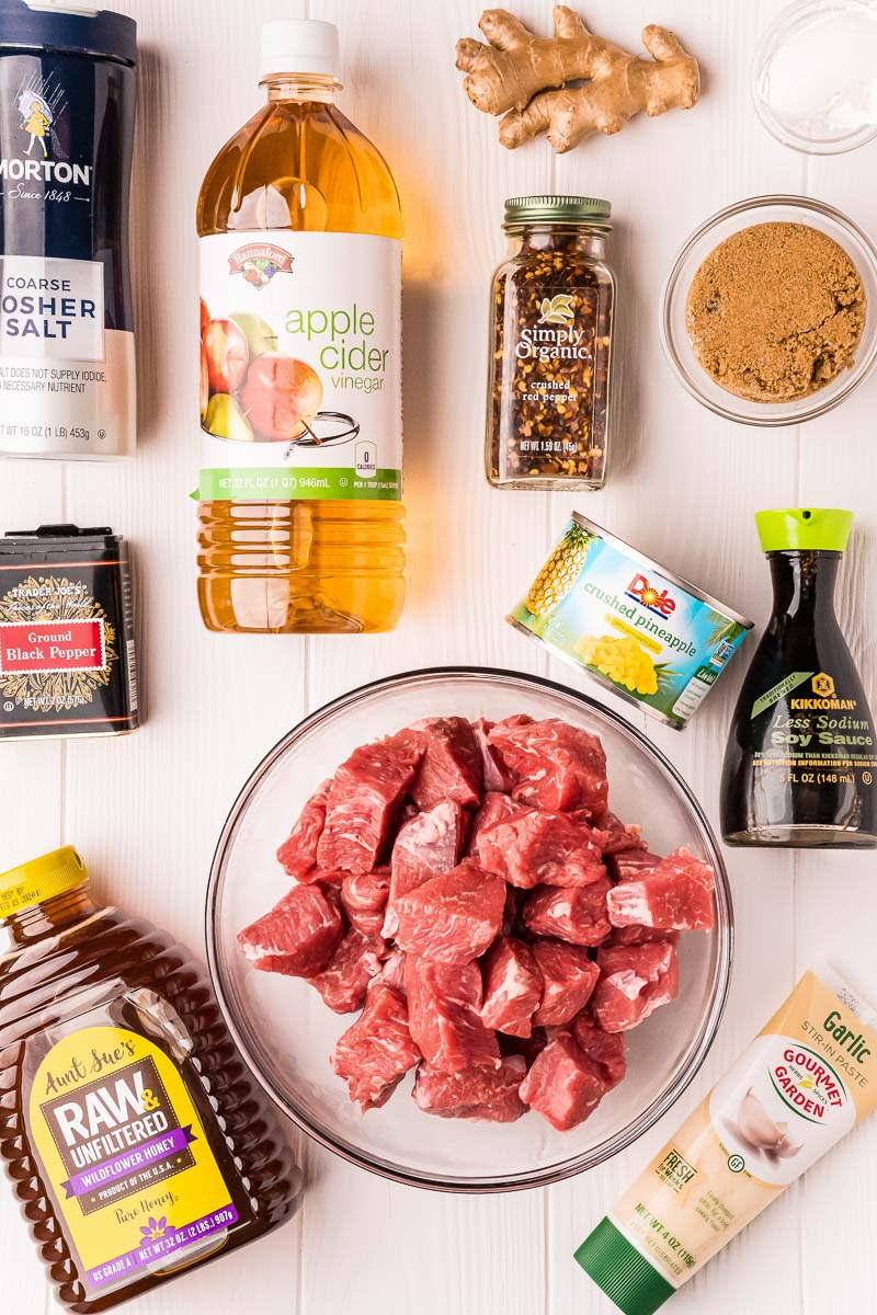 All of the ingredients needed to make this homemade Teriyaki Steak Tips recipe.