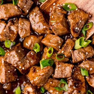 An overhead picture of a pan full of the finished Teriyaki Steak Tips.