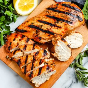 Grilled chicken sliced into strips.