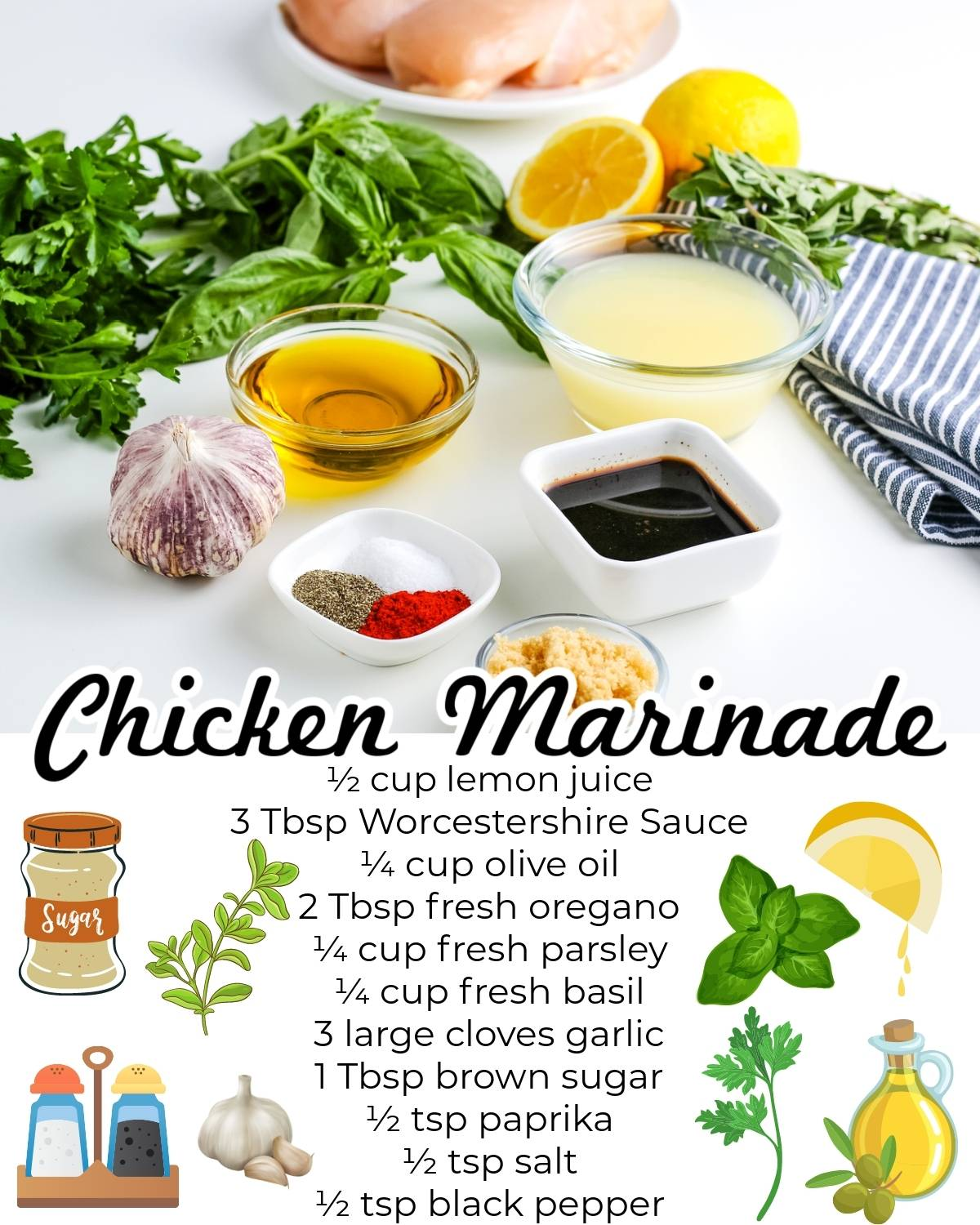 All of the ingredients needed to make this easy chicken marinade recipe.