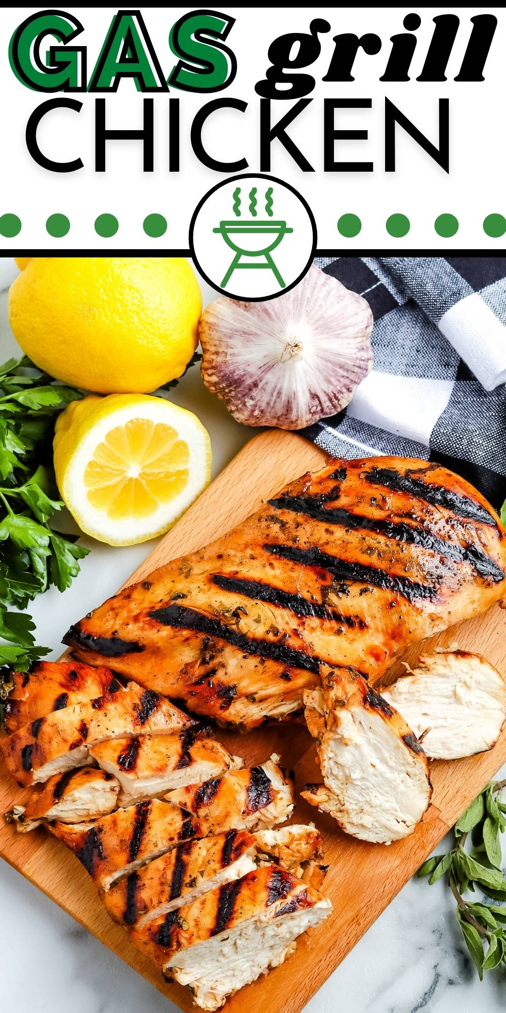 This Gas Grill Chicken Breast recipe is easy to make and a weeknight staple during the summer. The boneless chicken breasts cook up juicy and succulent. via @foodfolksandfun
