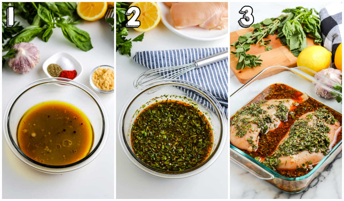 A picture collage of how to make Chicken Marinade.