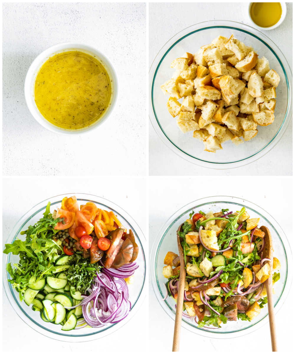 A picture collage of how to make panzanella.