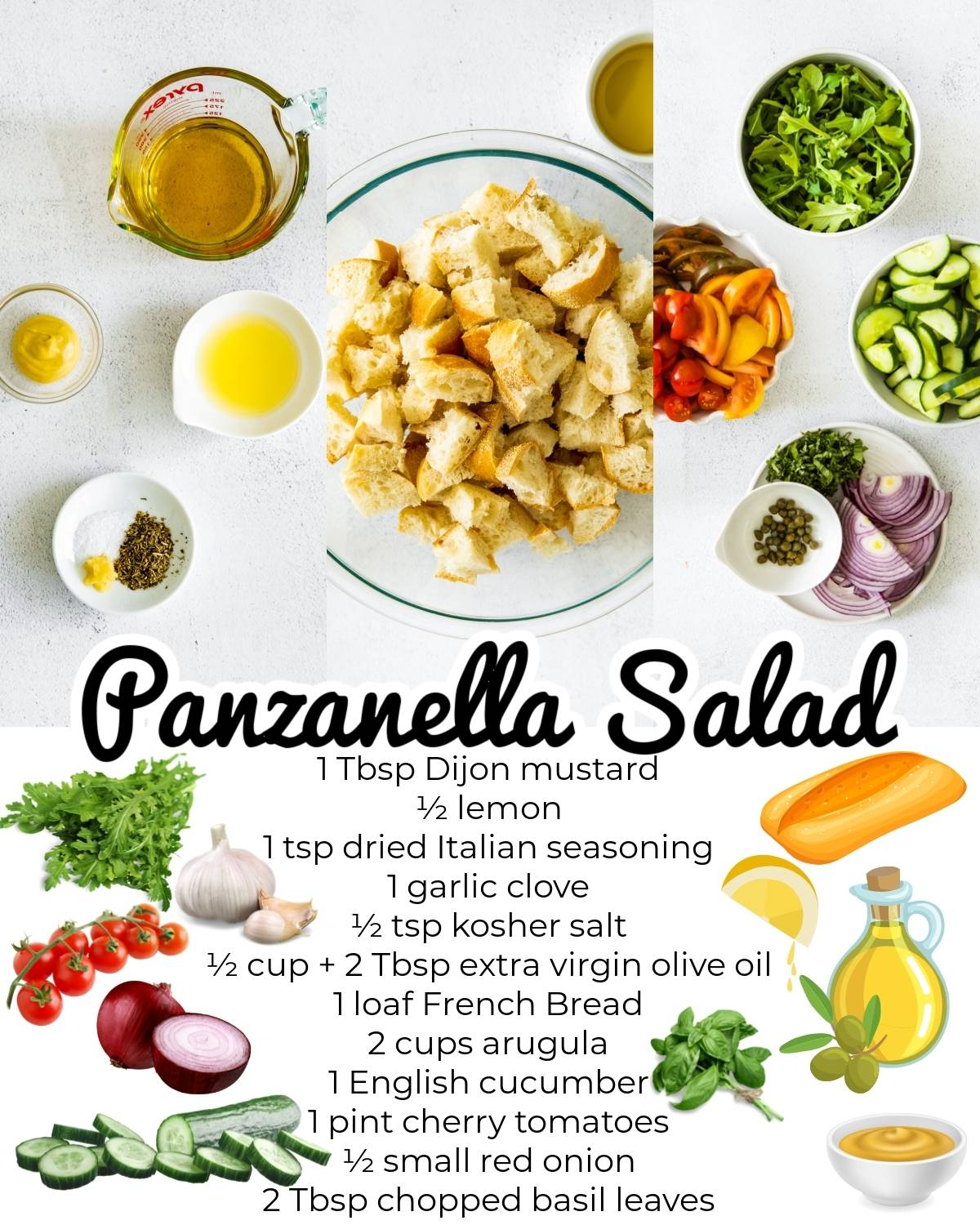 All of the ingredients needed to make this Panzanella Salad recipe.