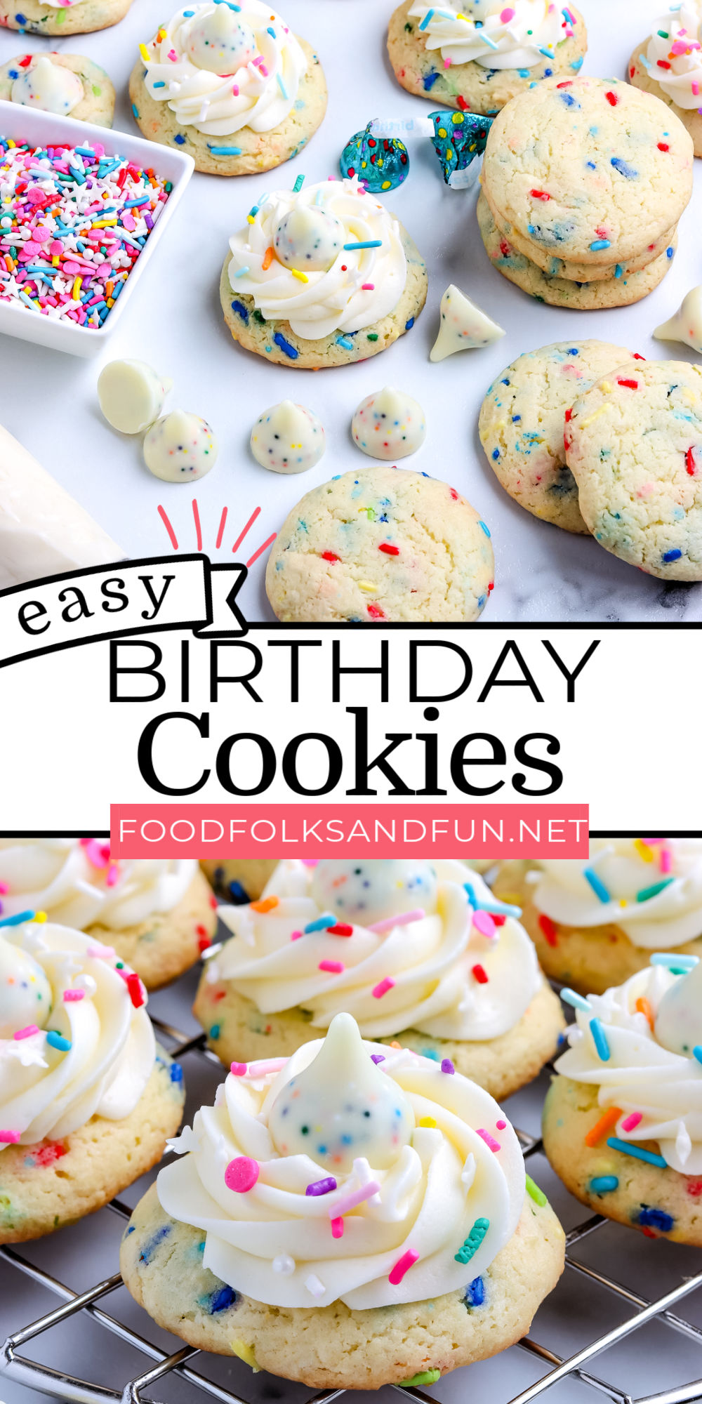 This Birthday Cookies Recipe is made with cake mix, buttercream frosting, and birthday cake chocolate kisses. They're an easy festive treat. via @foodfolksandfun