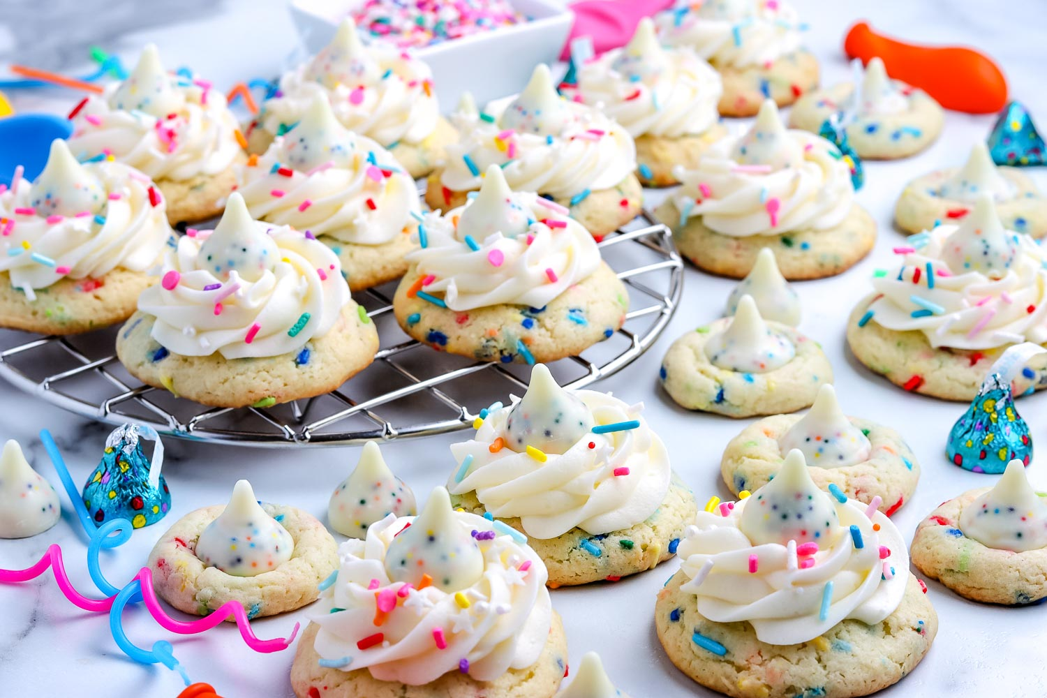 The finished Birthday Cookies Recipe with candles and sprinkles.