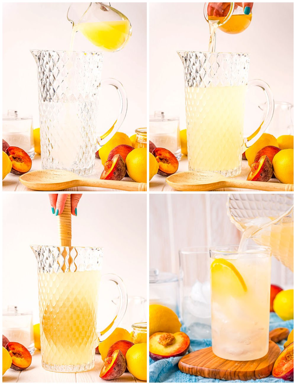 A picture collage of how to make Peach Lemonade.