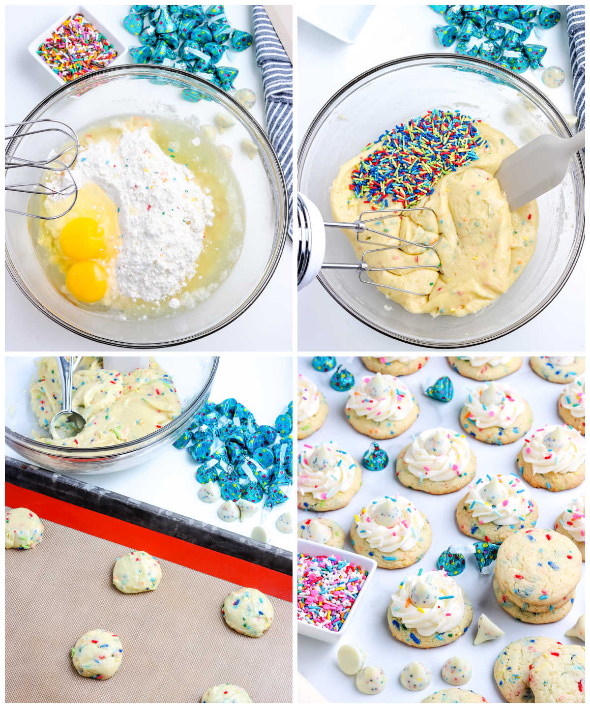 A picture collage of how to make this Birthday Cookies Recipe.