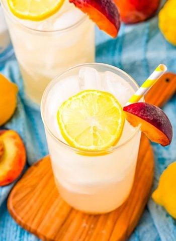Peach Lemonade in a clear glass.