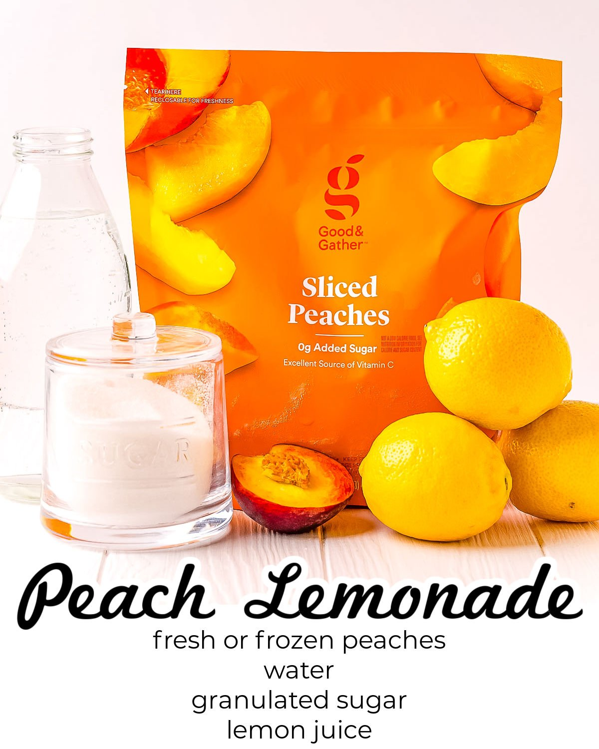 All of the ingredients needed to make this Peach Lemonade recipe.