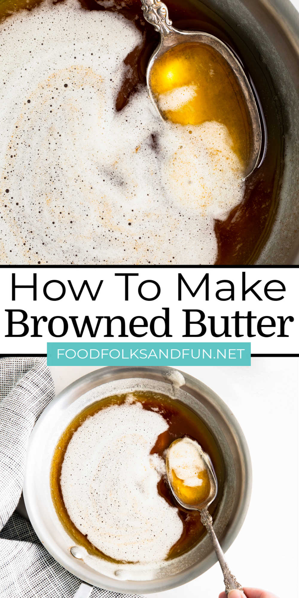Brown Butter is easy to make and worth the effort to give an extra flavor kick to pasta sauces, cookies, potatoes, and more! via @foodfolksandfun
