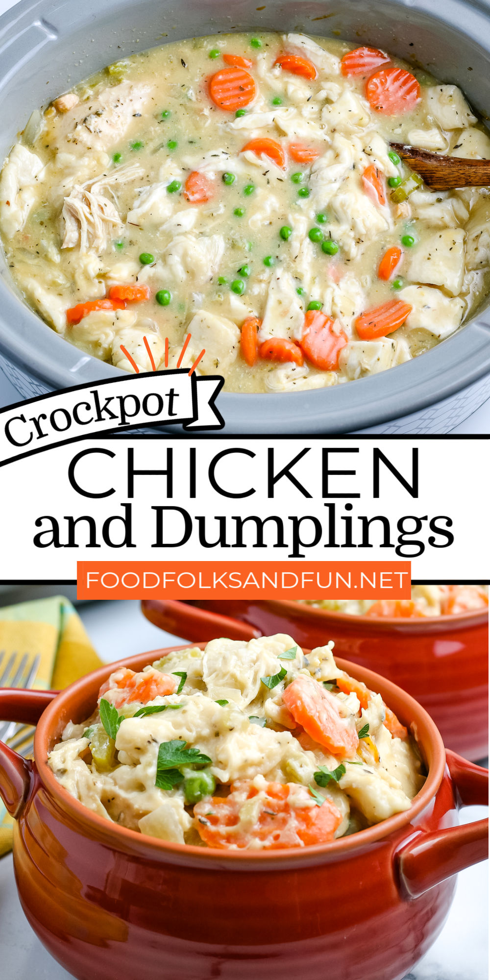 This Easy Crockpot Chicken and Dumplings recipe is made with pantry ingredients and canned biscuits for an effortless weeknight dinner or Sunday supper. via @foodfolksandfun