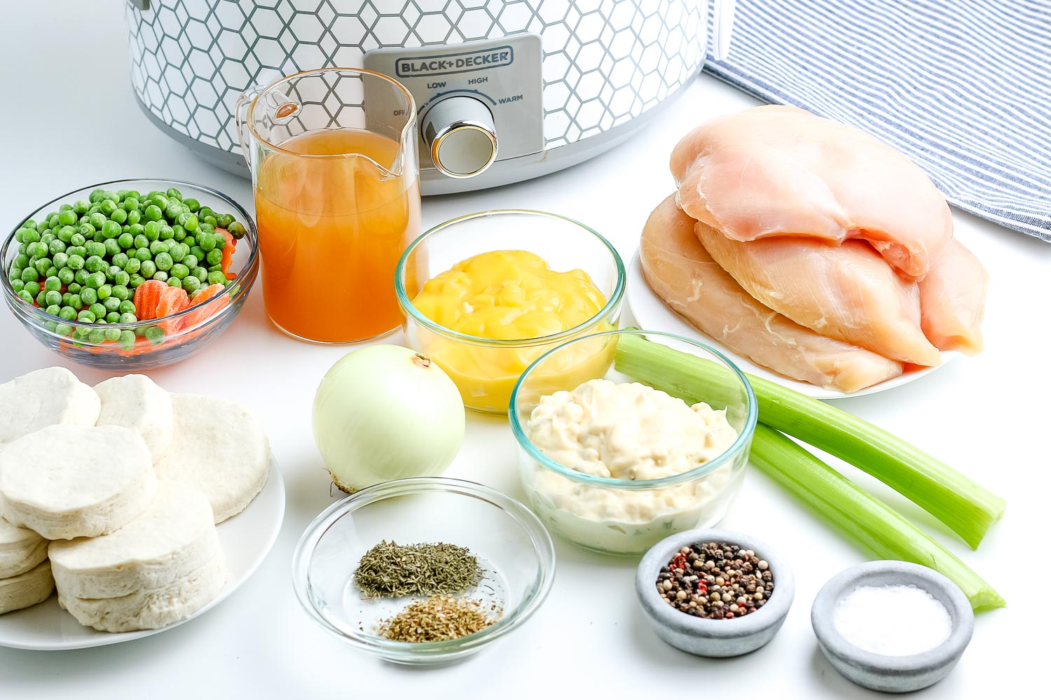 All of the ingredients needed to make this Crockpot Chicken and Dumplings recipe.