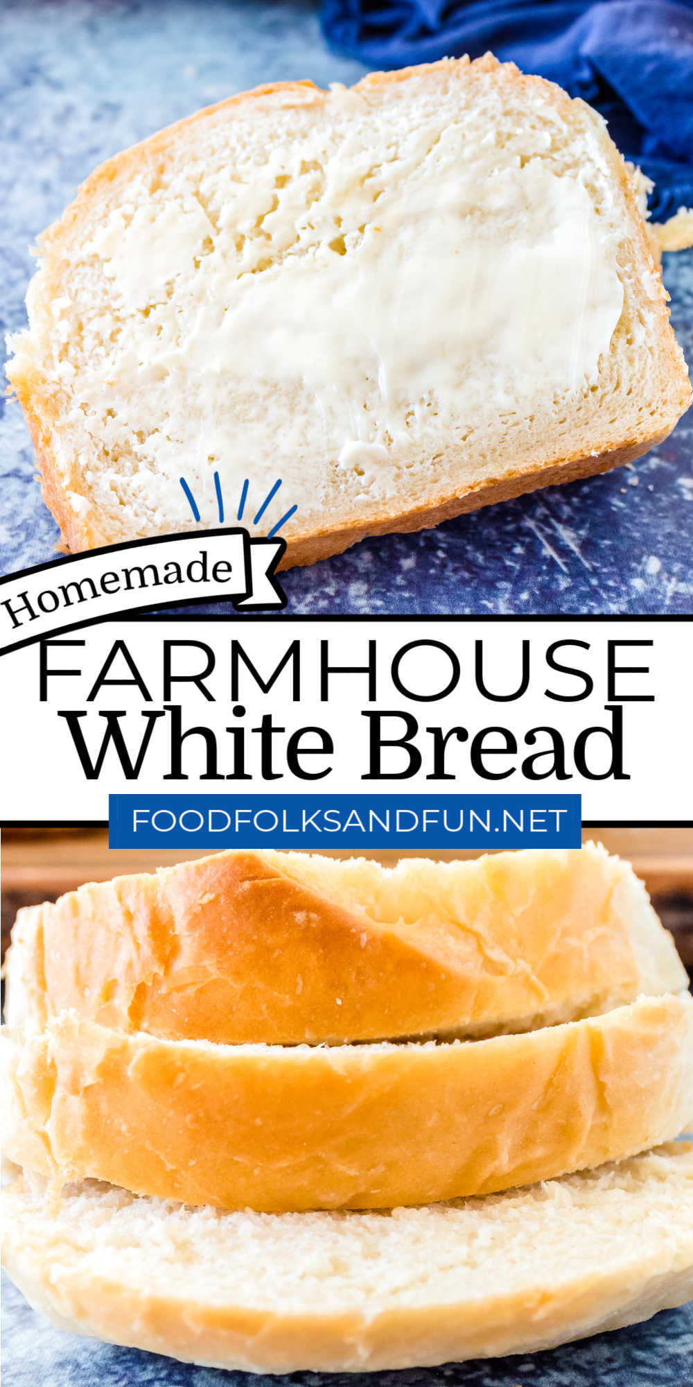 This Farmhouse White Bread recipe is easy to make and calls for just six simple ingredients. This homemade white bread recipe makes 2 large fluffy loaves. via @foodfolksandfun