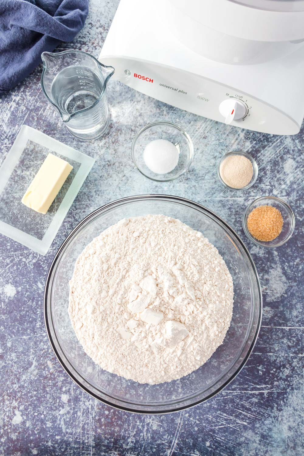 An overhead picture of all of the ingredients needed to make this homemade white bread recipe.